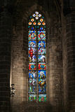 Stained glass window in Santa Maria del Mar church. Royalty Free Stock Photo