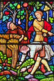 Stained glass window scene Royalty Free Stock Photography