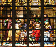 Scene of medieval plot. Stained glass window with scene of medieval plot on January 25, 2009 in Brussels. This scene decorates interior in Cathedral of St Stock Photo