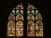 Stained glass window in Senlis cathedral royalty free stock images