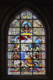 Stained-glass window in Seville cathedral, Spain Royalty Free Stock Image