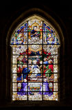 Stained-glass window in Seville cathedral, Spain Royalty Free Stock Photo