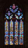 Stained-glass window in Seville cathedral, Spain Royalty Free Stock Photos