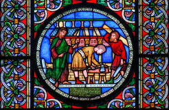 Stained glass window showing the building of Noahs Ark Royalty Free Stock Photos