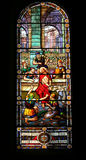 Stained glass window the soldiers mock jesus Royalty Free Stock Photo