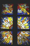 Religious stained glass window in cathedral  Royalty Free Stock Photography