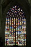 Stained glass window in St. Rumbold's Cathedral in Mechelen Stock Image
