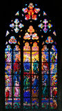 Stained-glass window in St Vit Cathedral, Prague Stock Photos