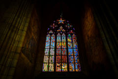 Stained glass window in St Vitus Stock Photography
