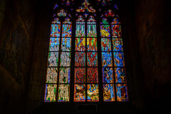 Stained glass window in St Vitus Stock Photo
