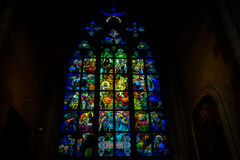 Stained glass window in St Vitus Royalty Free Stock Image