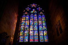 Stained glass window in St Vitus Royalty Free Stock Images