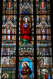 Stained-glass window in St.Vitus cathedral Royalty Free Stock Images