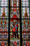 Stained-glass window in St.Vitus cathedral Royalty Free Stock Photo
