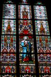 Stained-glass window in St.Vitus cathedral Stock Photos