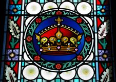 Stained glass window in St.Vitus Cathedral,Prague Stock Photos