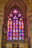 Stained glass window. In st. Vitus cathedral, Prague Royalty Free Stock Images