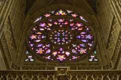 Stained glass window. In st. Vitus cathedral, Prague Royalty Free Stock Photos