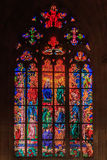 Stained glass window in St Vitus Cathedral in Prague. Stained Glass window in St. Vitus Cathedral by Art Nouveau painter Alfons Mucha in Prague, Czech Republic Royalty Free Stock Images