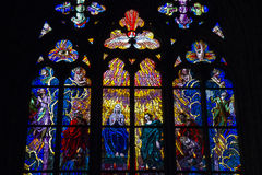 Stained Glass Window, St. Vitus Cathedral, Prague, Czech Republic Stock Images
