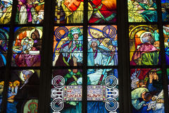 Stained Glass Window, St. Vitus Cathedral, Prague, Czech Republic Stock Image