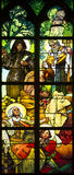Stained Glass window in St. Vitus Cathedral, Prague Royalty Free Stock Image