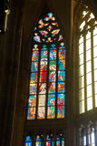 Stained glass window in  St Vitus Cathedral Royalty Free Stock Photo
