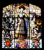 Stained glass window. Of medieval castle royalty free stock image