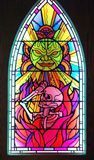 Stained glass window in Scared To Death exhibit at MoPOP in Seattle stock image