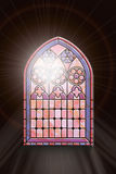 Stained glass window with sunlight Royalty Free Stock Images