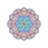 Stained-glass window temlate in mandala style. Stained glass template, round elements for stained-glass windows. Simple flower mandala in linear style. Vintage Royalty Free Stock Photos