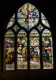 Stained-glass window in the temple. Medieval stained-glass window in church of Paris Royalty Free Stock Photos