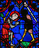 Stained glass window in Tours Cathedral. Stained glass window depicting the execution of a martyr in the Saint Gatien Cathedral of Tours, France Stock Photos