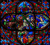 Stained glass window in Tours Stock Image
