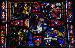 Stained glass window in Tours Stock Photos