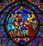 Stained glass window in Tours Stock Photo