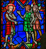 Stained glass window in Tours Stock Images