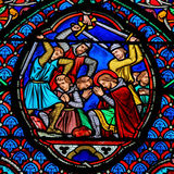 Stained glass window in Tours Royalty Free Stock Photography