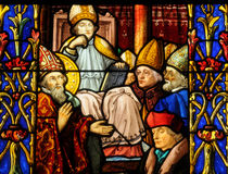 Stained glass window of Vigny church Royalty Free Stock Photo