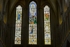 Stained glass window in Wells Cathederal Stock Photography