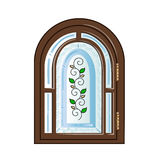With stained glass window stock illustration