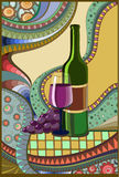 Stained-glass window Wine. Vector illustration Royalty Free Stock Photo