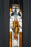 Stained glass window. Yaroslavl. Russia. Jesus on Stained Glass Window stock photo