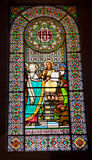 Stained Glass Window Young Jesus Mary Monastery Montserrat Royalty Free Stock Photos