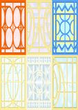 Stained-glass windows. Stained glass for windows, doors, walls, white background Stock Images