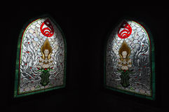 Stained glass windows of angel at the temple in Thailand. Royalty Free Stock Photos