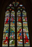 Stained glass windows of Basilica of Saint Servatius. MAASTRICHT, NETHERLANDS - JANUARY 16, 2016: Stained glass windows of Basilica of Saint Servatius, the Royalty Free Stock Image