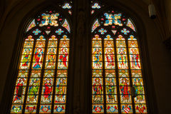 Stained glass windows of Basilica of Saint Servatius Stock Photo