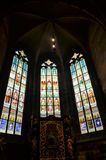 Stained glass windows in the cathedral of Prague stock images