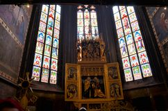 Stained glass windows in the cathedral of Prague stock photos